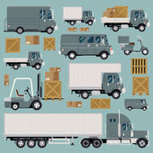 Large set of cool detailed flat design freight commercial transport items featuring delivery van scooter flatbed truck forklift semi-trailer tractor unit and various types of load and cargo