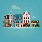 Beautiful detailed vector small european town buildings facades background