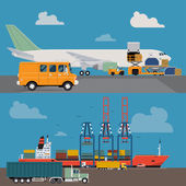 Vector set of modern creative detailed visuals on delivery and shipping logistics service in business and industry with freight cargo airplane loading and container ship at port unloading