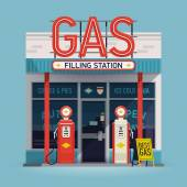 Cool vector detailed flat design retro gas filling station illustration Transport related service building Gasoline and oil station
