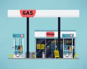 Cool detailed vector modern flat design gas filling station Transport related service building Gasoline and oil station with shop