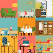 Set of lovely and colorful vector interior design room types icons in trendy flat design featuring living room bedroom kitchen kids' room bathroom dining room work space and hallway