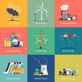 Ikony na zařízení na výrobu elektrické energie a zdrojů