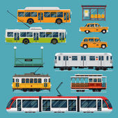 Large set of vector mass rapid transit urban vehicles | Collection of municipal transport buses taxis subway tram cars in flat design Ideal for infographic brochures web and motion design