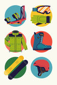 Cool extreme sport snowboard winter activity round icons vector in flat design featuring boots jacket goggles gloves helmet and bindings Ideal for snowboarding themed graphic and web design