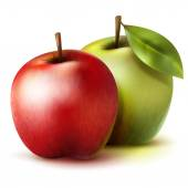 Two isolated green and red realistic vector apples