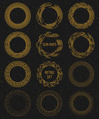 Vintage vector gold sunburst set graphic design cosmic and space rays hipster graphic design