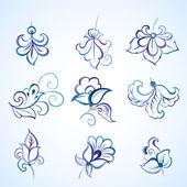 Set of watercolor floral design elements