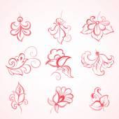 Set of watercolor floral design elements Vector illustration