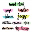 ������, ������: Music styles typographic set