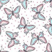 Bezešvé vzor motýli ve stylu doodle