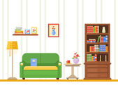 Flat design vector illustration of living room with furniture