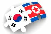 Cooperation South Korea and North Korea. Concept