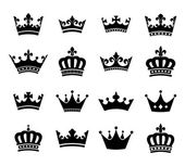 Set of 16 crown vector silhouette symbols Fully editable EPS10