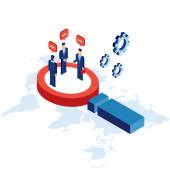 Research communication partnership Businessman and successful business concept isometric Vector illustration