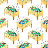Watercolor seamless pattern with foosball tables on the white background, aquarelle. Vector illustration.