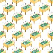 Watercolor seamless pattern with foosball tables on the white background, aquarelle. Vector illustration. Hand-drawn decorative element useful for invitations, scrapbooking, design