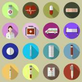 Trendy flat medical icons with long shadow. Vector elements