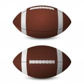 American football balls set - front view side view - isolated on white background Vector EPS10 illustration