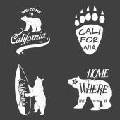 Set of vintage monochrome california emblems and design elements. Grunge effect can be edited or removed.
