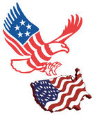 American map flag guarding amerekanskyy eagle in patriotic colors