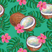 Seamless tropical pattern with coconuts and pink flowers against green background