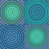 Circular Geometric Blue Patterns set