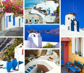 Sada Letní cestování fotografie v Santorini island, Řecko. Koláž