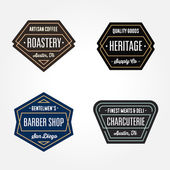 Set of original retro badge geometric logos design templates with vintage feeling and harmonious color schemes for wide variety of businesses