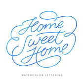 'Home Sweet Home' Elegant and Delicate Hand Lettering Custom Design Monoline Script Modern Calligraphy Typographic Art Premium Graphics Decorative Handwritten Phrase With Swirls Loops and Swashes