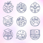 Set of Education vector icons in modern linear style