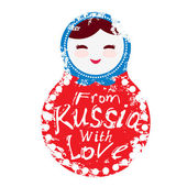 From Russia with love - Russian dolls matryoshka on white background red and blue colors Vector illustration