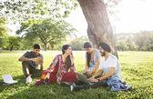 Indické přátelé sedí pod stromem
