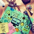Постер, плакат: Messy office desk with Web Design