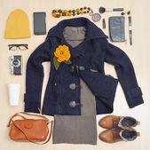 Stylová sada módní oblečení a doplňky pro podzim