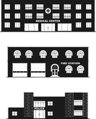 Different types of buildings in a flat style