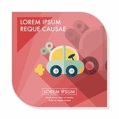 Hračka auto ploché ikony s dlouhý stín, eps10