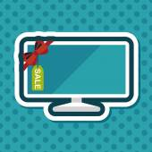 Shopping sale tv flat icon with long shadoweps10