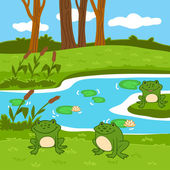 Vector illustration (summer pond in the woods)