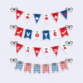 Vote Canada buntings and election garlands decoration icons set