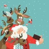 Santa and reindeers take a selfie Vector illustration