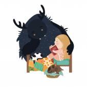 Little girl reading fairy tales to the monster Vector illustration