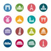 A collection of different kinds of famous scenic spots color icons