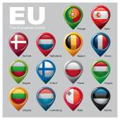 Members of the European Unions flags in pointer icons