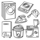 A collection of different kinds of home electric appliances with sketch style