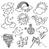Different kinds of weather icons in line art style