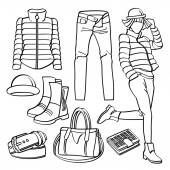 Fashion lady with different kinds of clothing and accessories