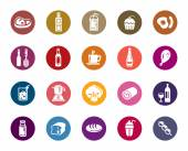 A collection of different kinds of food and drinks color icons