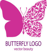 Butterfly logo Purple butterfly with patterned wing icon avatar flower style spa beauty salon logotype insignia label badge vector element floral design template for your business
