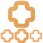 Orange line plus logo icon design set
